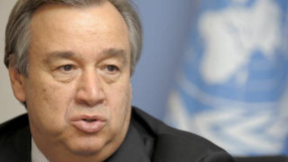 - EKSTREMT GLADE: FNs høykommisær for flyktninger Antonio Guterres mottok nyheten om Soleckis løslatelse med glede. Foto: NICHOLAS BOUVY / EPA / SCANPIX