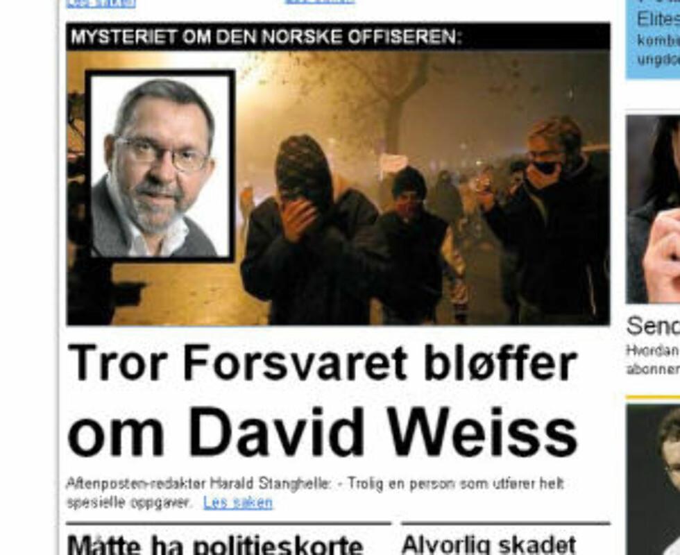 AFTENPOSTEN: Redaktør Harald Stanghelle har beskyldt Forsvaret for å bløffe om tilknytningen til Weiss. Faksimile: Aftenposten.no 5/4-09