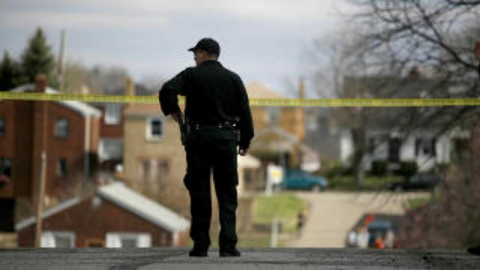 ÅSTEDET: Fairfield Street i Stanton Heights-området i den amerikanske byen Pittsburgh. Foto: ROSS MANTLE / AFP / SCANPIX