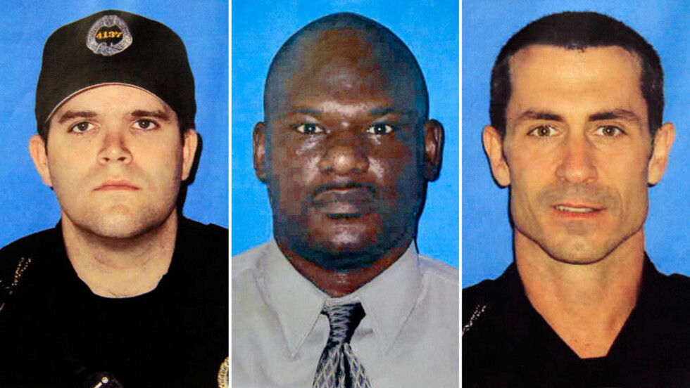 DREPTE TRE POLITIMENN: Stephen Mayhle (29), Eric Kelly (41) og Paul J. Sciullo III (37) ble skutt og drept da de rykket ut på en melding om husbråk. Foto: PITTSBURGH POLICE DEPARTEMENT / AP / SCANPIX