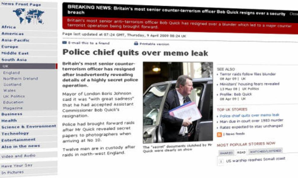 VISTE KORTENE: Robert Quick glemte at han bar på topphemmelige dokumenter. Faksimile: BBC