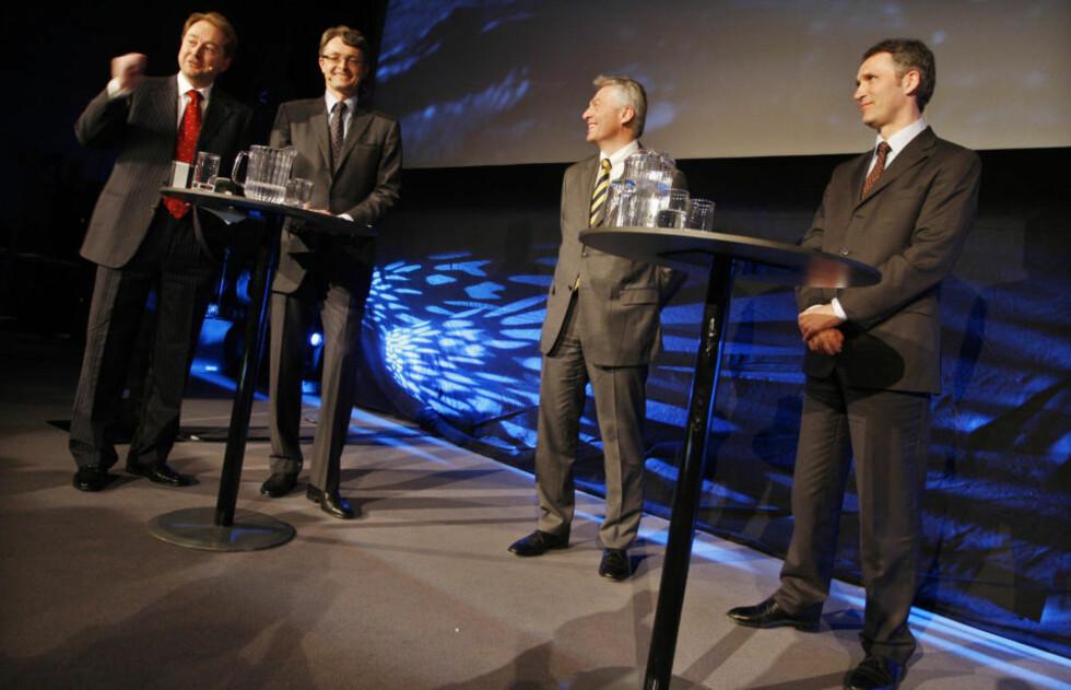 PÅ AKER-DAGEN: Jenst Stoltenberg var på scenen sammen med Kjell Inge Røkke, Øyvind Eriksen og Simen Lieungh. Foto: Håkon Mosvold Larsen/SCANPIX