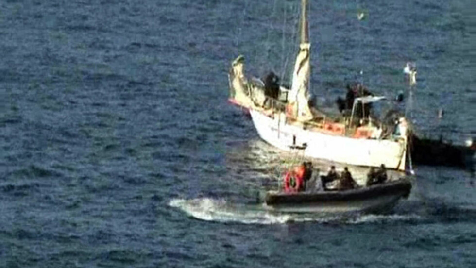 DREPT: I går gikk franske styrker til aksjon mot seilbåten som var kapret av somaliske pirater. Franskmannen Florent Lemacon (27) ble drept under aksjonen. To av piratene ble også drept. Bildet er tatt av det franske forsvaret. Foto: AFP PHOTO / ECPAD/SCANPIX