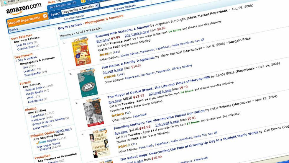 FORSVANT: Bøker som disse biografiene forsvant plutselig fra Amazons salgslister. Det hele skyldes en systemfeil, ifølge nettbokhandelen. Faksimile: Amazon.com