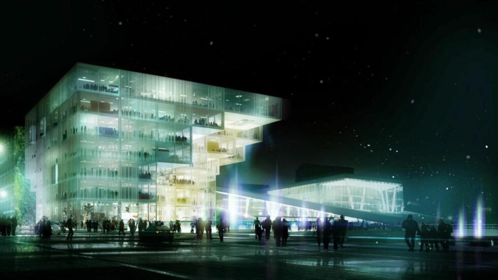 ANDREPLASS: «Meeting place/diversity/openness/exploration» av Schmidt Hammer Lassen (Danmark) kom på andreplass i konkurransen om å tegne nye Deichmanske hovedbibliotek i Bjørvika. Men Bystyret står fritt til å velge dem framfor vinneren Lambda, dersom de ønsker det.
