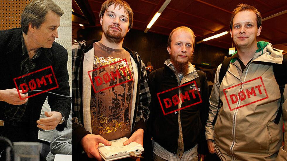 DØMT: Carl Lundstrøm, Fredrik Neij, Gottfris Svartholm Warg og Peter Sunde er alle dømt i Stockholm tingsrätt. FOTO: SCANPIX