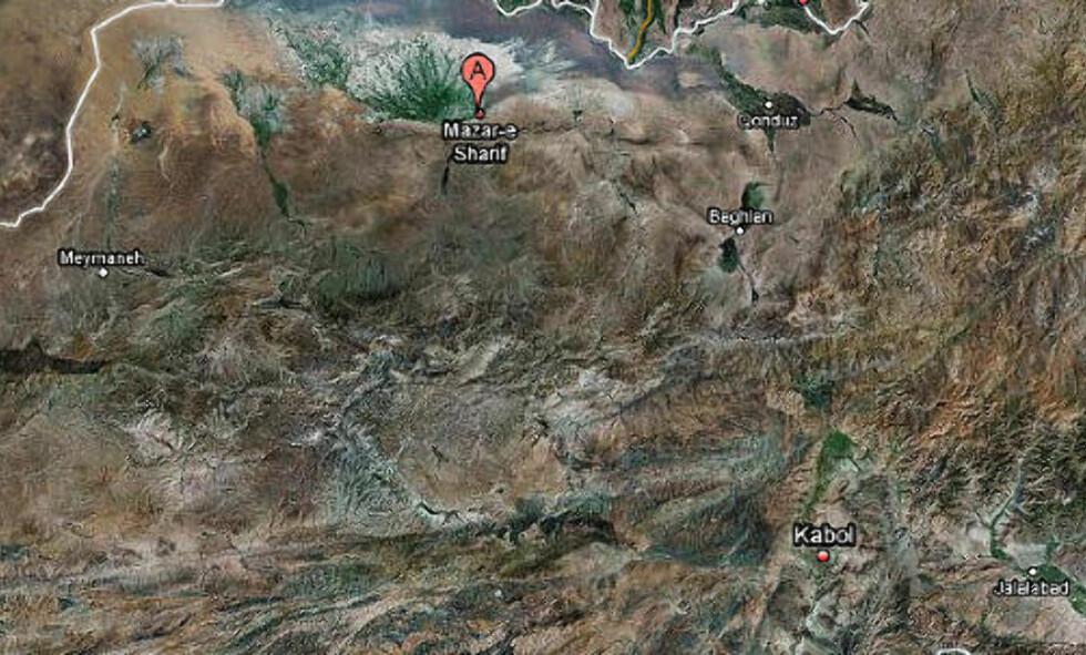 - RUTINETRANSPORT: Attentatet, som av Sunde beskrives som terror, fant sted nord i landet, vest for byen Mazar-e Sharif. Kart: Google.