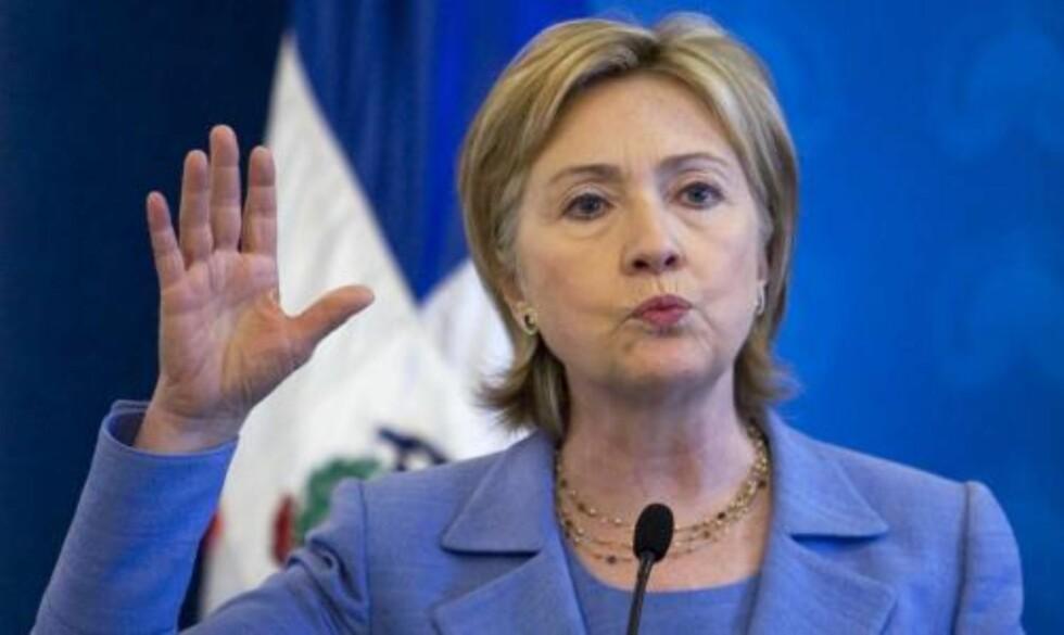 SVÆRT SKUFFET: USAs utenriksminister Hillary Clinton. Foto: REUTERS/ Eduardo Munoz/SCANPIX