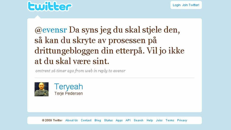 USAKLIG: Terje Pedersen fra Warner Music ble hissig over det en 18-åring skrev på Twitter. Nå må Pedersen be om unnskyldning. FAKSIMILE: TWITTER