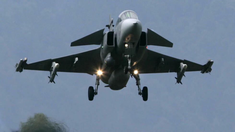 TAPTE: Svenske-flyet Gripen.                                                                                                                       Foto: REUTERS/Michael Buholzer/Scanpix