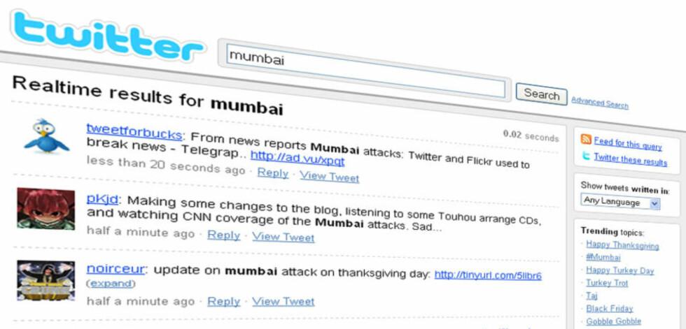 TWITTER: Nye meldinger fra og om situasjonen i Mumbai legges ut på mikrobloggingstjenesten Twitter mange ganger i minuttet.