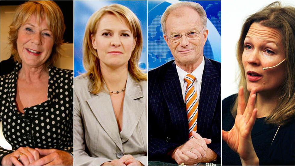 FRONTET TV-AKSJONEN: Journalister som (fra venstre) Anne Grosvold, Gry Blekastad Almås, Einar Lunde og Åsne Seierstad har vært med å fronte tv-aksjonen. De får nå hard kritikk av professor Terje Tvedt. Foto: SCANPIX