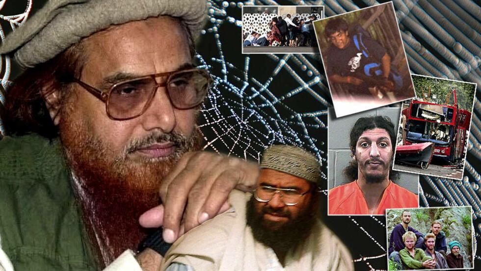 EDDERKOPPENE: Hafiz Mohammad Saeed (t.v) og Maulana Masood Azhar kan være de største edderkoppene i det globale terrornettverket Osama bin Laden får æren for. Kashmir-gruppene har vokst enormt de siste tiårene, og eksporterer terrorister til hele verden - også Norge.