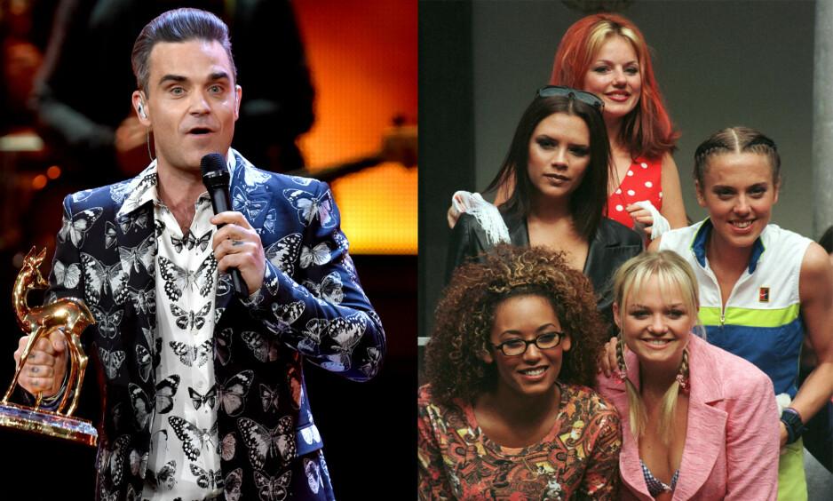 MYTEOMSPUNNEDE SEX-HISTORIER: Den britiske artisten Robbie Williams erkjenner at en gammel sex-spøk, som involverer jentene i Spice Girls, alltid vil henge over ham. Foto: NTB Scanpix