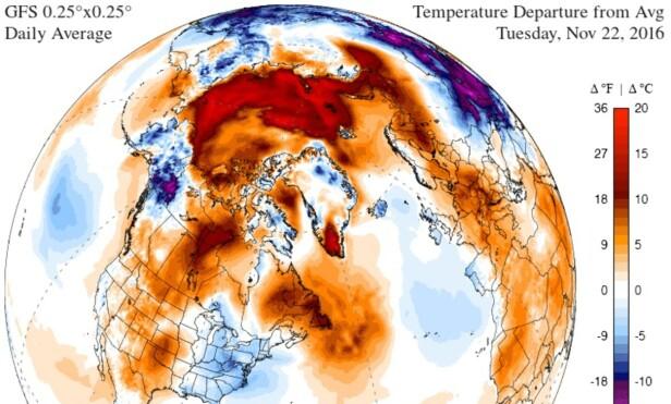 VARME: Her ser man hvor mye varmere det er på Nordpolen enn normalt. Foto: Climate Reanalyzer