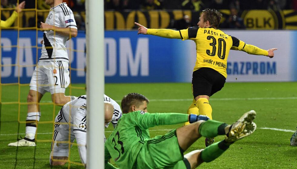 MÅLFEST: Felix Passlack sto bak ett av mange mål i kveldens kamp. Aldri er det blitt scoret flere mål i en Champions League-kamp. Foto: NTB Scanpix