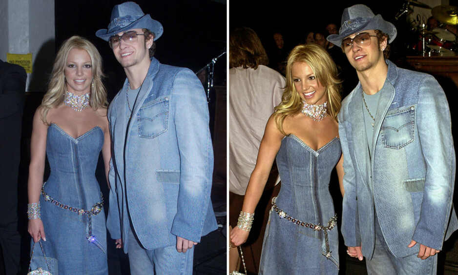 IKKE GLEMT: Det er 15 år siden det tidligere superparet Britney Spears og Justin Timberlake stilte på den røde løperen med matchende denim-antrekk. Foto: NTB scanpix