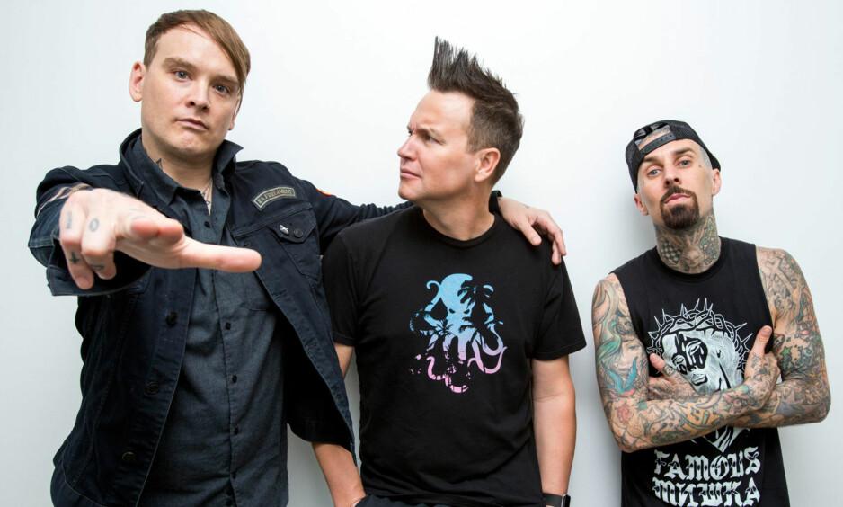 NORGESAKTUELLE: Blink-182 gjør sin første konsert i Norge noensinne på Tons of Rock i Halden 22. juni. Dagbladet fikk en eksklusiv prat med bandets trommeslager, Travis Barker (t.h.). Foto: Promo