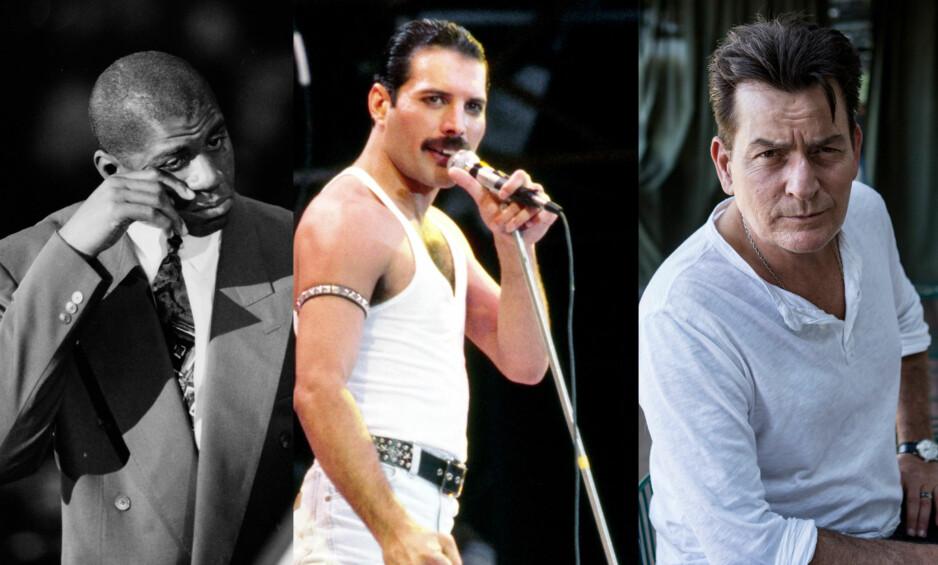 HIV-DIAGNOSTISERTE STJERNER: Magic Johnson, Freddie Mercury og Charlie Sheen er bare blant noen av verdensstjernene som har blitt smittet av hiv. Noen har valgt å leve åpent om diagnosen, andre har donert penger til saken i skjul. Foto: NTB scanpix