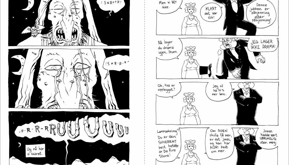 """OPPFØLGER: """"Hvem drepte Ibsen?"""" er siste tegneserieroman i prosjektet """"De fire store"""". Den første kom i 2007. Illustrasjon fra boka"""