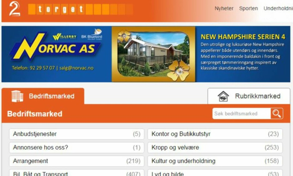 SLUTT: 30 medarbeidere i heltidsstilling hos firmaet Infonor har inntil nylig solgt annonser for TV2 Torget. Nå er det slutt. Foto: Skjermdump.