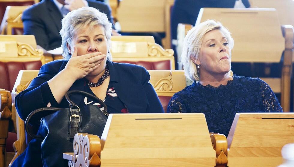 SKJEBNEDAGER: 5. desember skal statsbudsjettet behandles i Stortinget. Det haster for Erna Solberg og Siv Jensen å få flertall for regjeringens forslag. Foto: NTB Scanpix