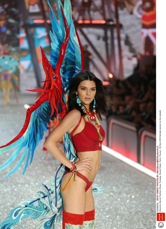 Mandatory Credit: Photo by Matt Baron/BEI/Shutterstock (7529865at) Kendall Jenner on the catwalk Victoria's Secret Fashion Show, Runway, Grand Palais, Paris, France - 30 Nov 2016