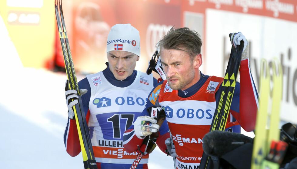 LAGKAMERATER: Finn-Hågen Krogh og Petter Northug fra verdenscupen i stafett på Lillehammer. Foto: Terje Pedersen / NTB scanpix