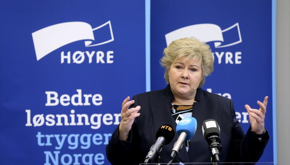 KNIVENE SLIPES I HØYRE: Erna Solberg på Høyres sentralstyremøte i november. Foto: Vidar Ruud / NTB Scanpix