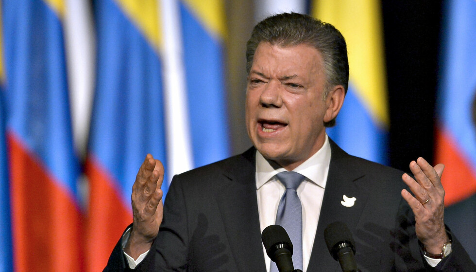FREDSAVTALE: President Juan Manuel Santos har satt sitt politiske liv inn på å skape fred i Colombia. Foto: AFP / NTB Scanpix / LUIS ROBAYO
