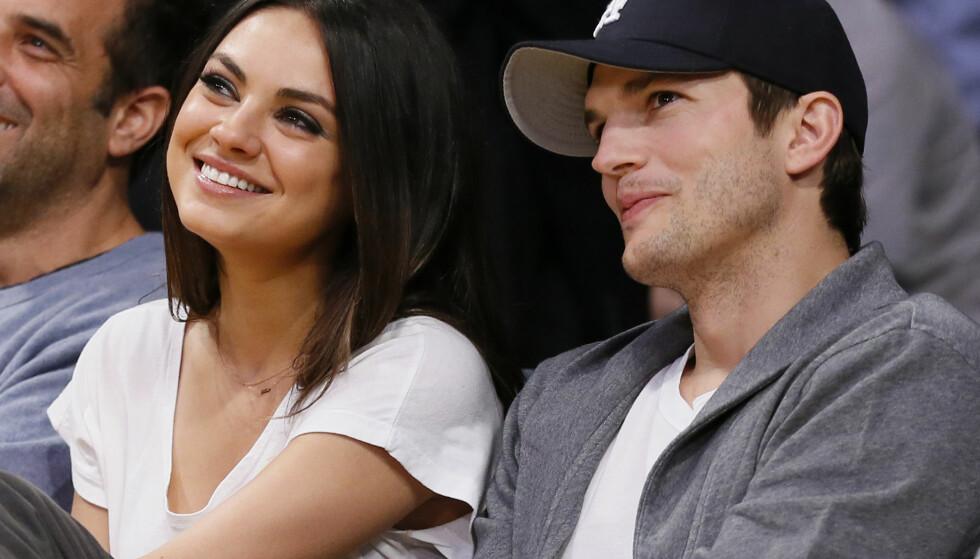 GIFT: Mila Kunis og Ashton Kutcher har to barn sammen. Foto: NTB Scanpix