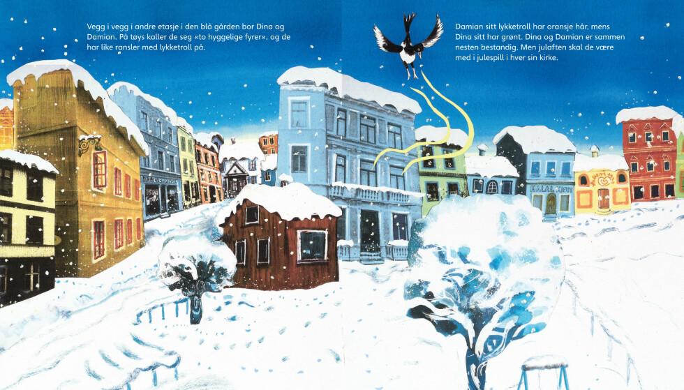 HØYTID: «Fest og feiring»-boksen består av fem bildebøker, som tar for seg hver sin religiøse høytid. Slik åpner boka «God jul».  Illustrasjon fra boka