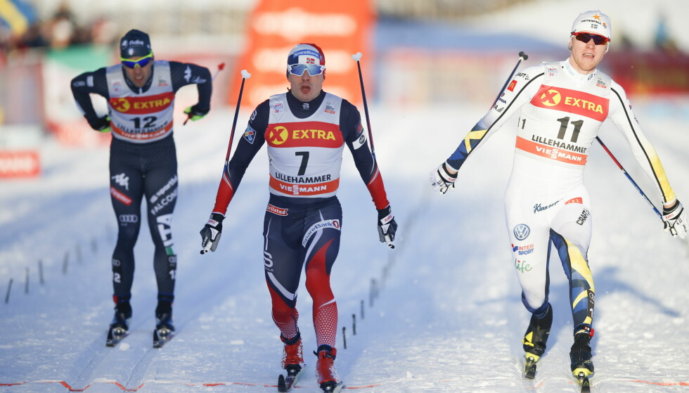 GIKK VIDERE: Her går FInn Hågen Krogh over mål til avansement i sprinten. Trodde han. Diskinga forrige helg gikk hardt inn på ham.Foto: Terje Pedersen / NTB Scanpix