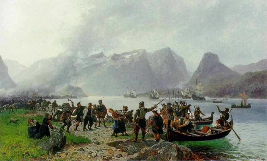 Landgangen: Skottehæren brenner og plyndrer langs Isfjorden. I hvert fall i følge dette nasjonalromantiske bildet. (Maleri av Adolph Tidemand og Morten Müller/Nasjonalgalleriet)