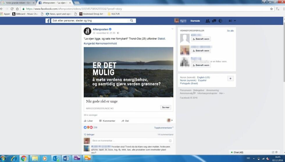 Aftenposten-reklame: Men er den tydelig nok merket? Foto: Faksimile