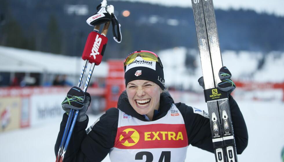 VANT: Jessica Diggins vant sin andre verdenscupseier i karrieren da hun ødela den norske festen på Lillehammer. Foto: Terje Pedersen / NTB scanpix