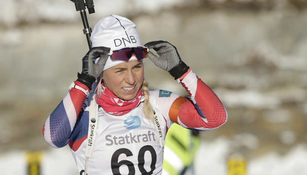 BRUKBART START: Tiril Eckhoff gjorde en god sprint i dag. Foto: Berit Roald / NTB scanpix