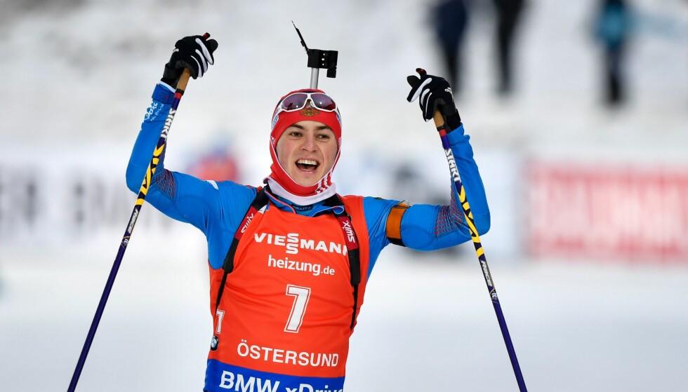 OVERRASKET: Anton Babikov satte hele verdenseliten på plass på dagens jakstart i Sverige. Foto: NTB Scanpix