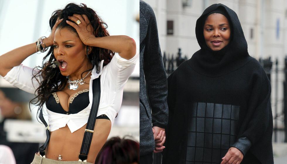 FORANDRING: Bildet av Janet Jackson til venstre er fra en konsert i New York i 2004, mens bildet til venstre er tatt nylig under en spasertur med ektemannen i London. Foto: NTB scanpix