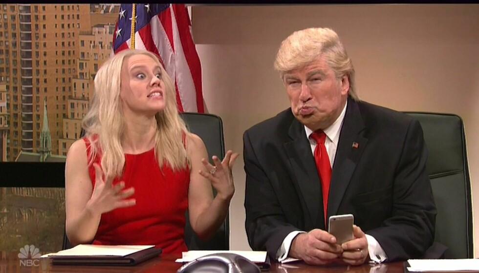 ERTER: Alec Baldwin gjør narr av USAs blivende president i sine sketjser i «Saturday Night Live». Nå lover han å stoppe - på én betingelse. Foto: XPOSURE PHOTOS
