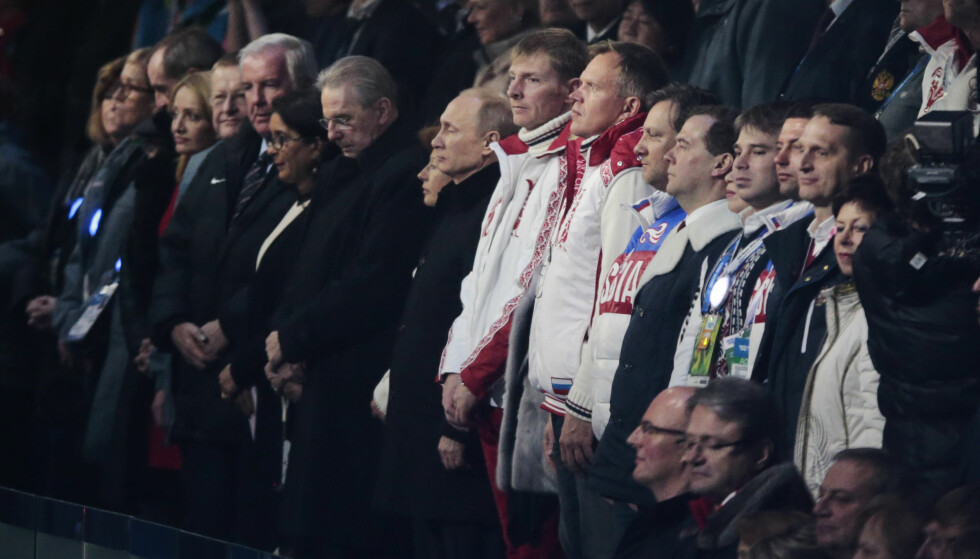I FRYSEBOKSEN: Russland, her representert ved president Vladimir Putin under avslutningsseremonien i Sotsji i 2014. Foto: NTB Scanpix