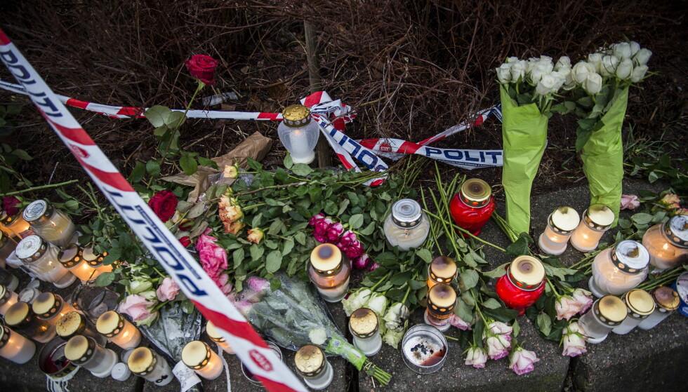 Dobbeltdrap i Kristiansand: Åstedet, ved Wilds minne barneskole, der Tone Ilebekk og Jakob Abdullahi ble drept. Foto: Lars Eivind Bones / Dagbladet