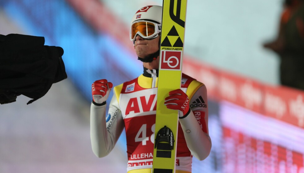 NUMMER TO: Daniel-André Tande var fornøyd etter dagens verdenscuprenn på Lillehammer. Foto: Geir Olsen / NTB Scanpix