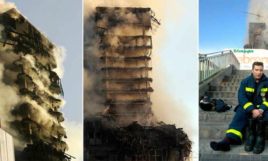 UTBRENT: Slik ser det ut i morgentimene i dag. Lite gjenstår av den Den 106 meter høye Windsor-bygningen i Madrid. Foto: Scanpix
