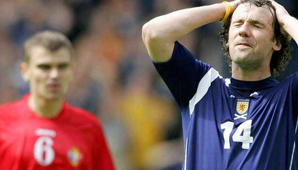 OPPGITT: Tapet for Hviterussland sendte Christian Dailly og Skottland ut av kampen om playoff til VM. Foto: Scanpix/Ap