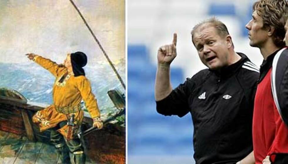 NORSKE EVENTYRERE: Leiv Eiriksson oppdager Amerika, foreviget av Christian Krogh. Per-Mathias Høgmo gjenoppdager Spania, foreviget av AP Photo. Foto: AP/Scanpix