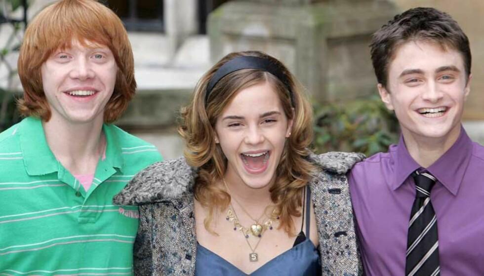 VISTE SEG FRAM FOR PRESSEN: Hovedrolleinnehaverne, slik de ser ut i dag: Daniel Radcliffe som Harry Potter(til høyre), Emma Watson som Hermione og Rupert Grint som spiller Ron. FOTO: SCANPIX/REUTERS