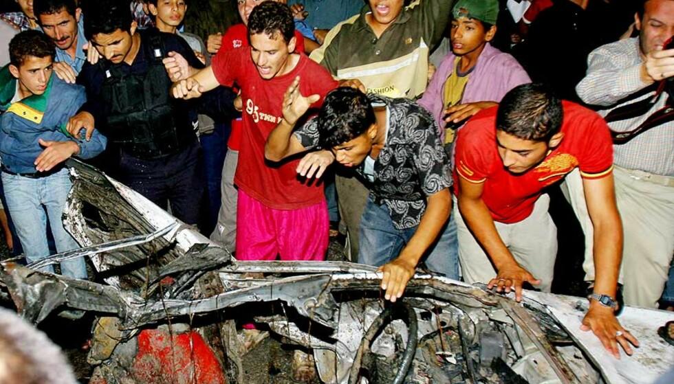 MÅLET: De to islamistene som var målet for angrepet, skal ha sittet i denne bilen. Foto: SCANPIX/AP