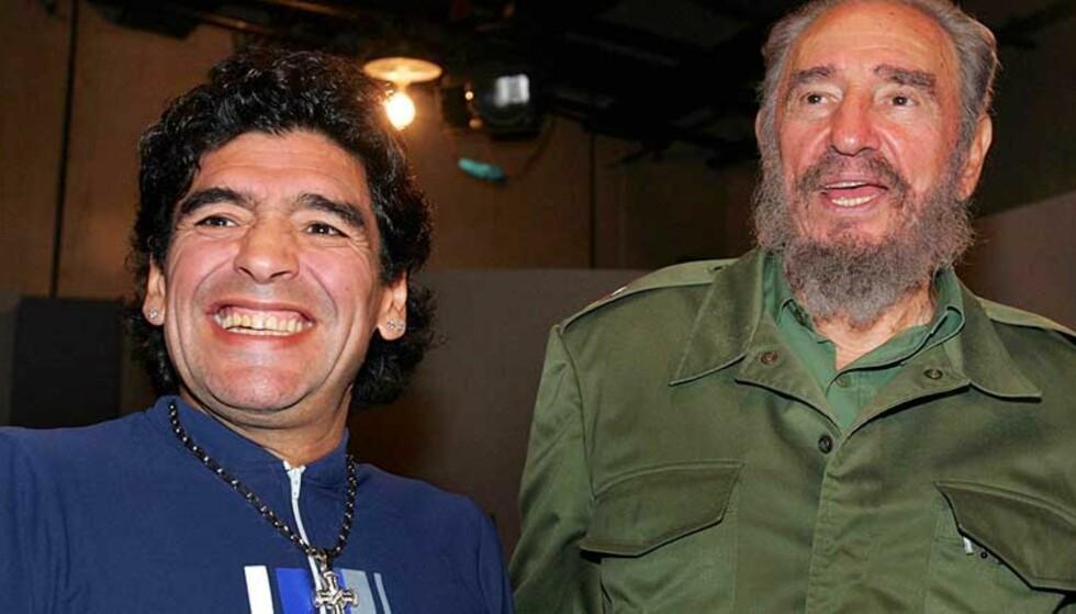 TV-INTERVJU: Diego Maradona er på Cuba for å lage tv-show med Fidel Castro. Den tidligere fotballstjernen har lovet Cuba-presidenten å gå i en marsj mot USA når han kommer tilbake til Buenos Aires.