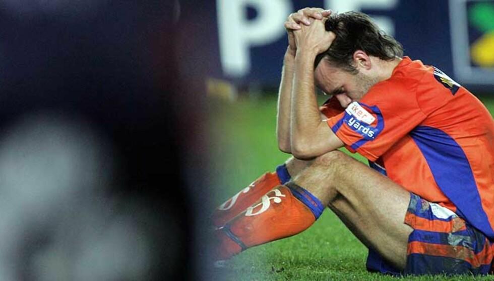 KNUST: Trond Fredriksen brast i gråt da det gikk opp for ham at laget hadde skuffet fansen og rykket ned. Foto: SCANPIX